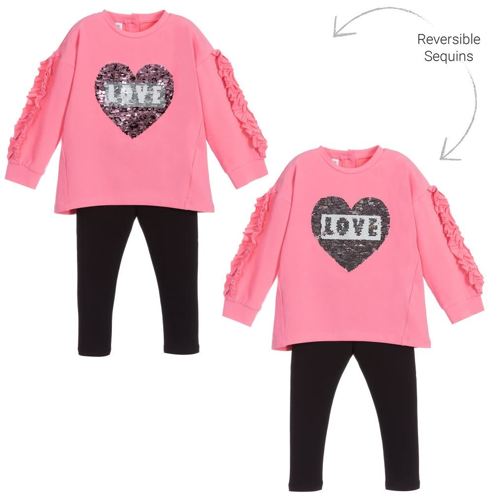 Ido Ido 1601 Pink love heart Jumper & Legging Set
