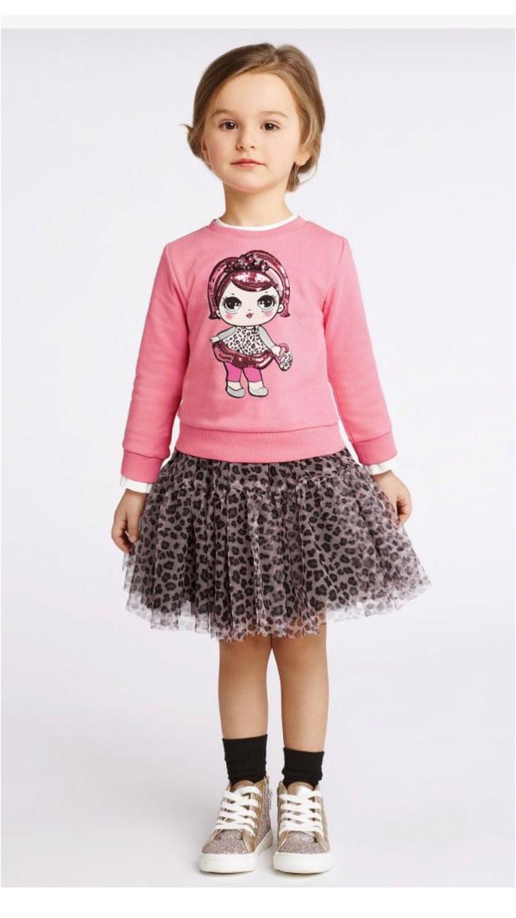 Ido IDo Doll Jumper and Leopard Print Skirt