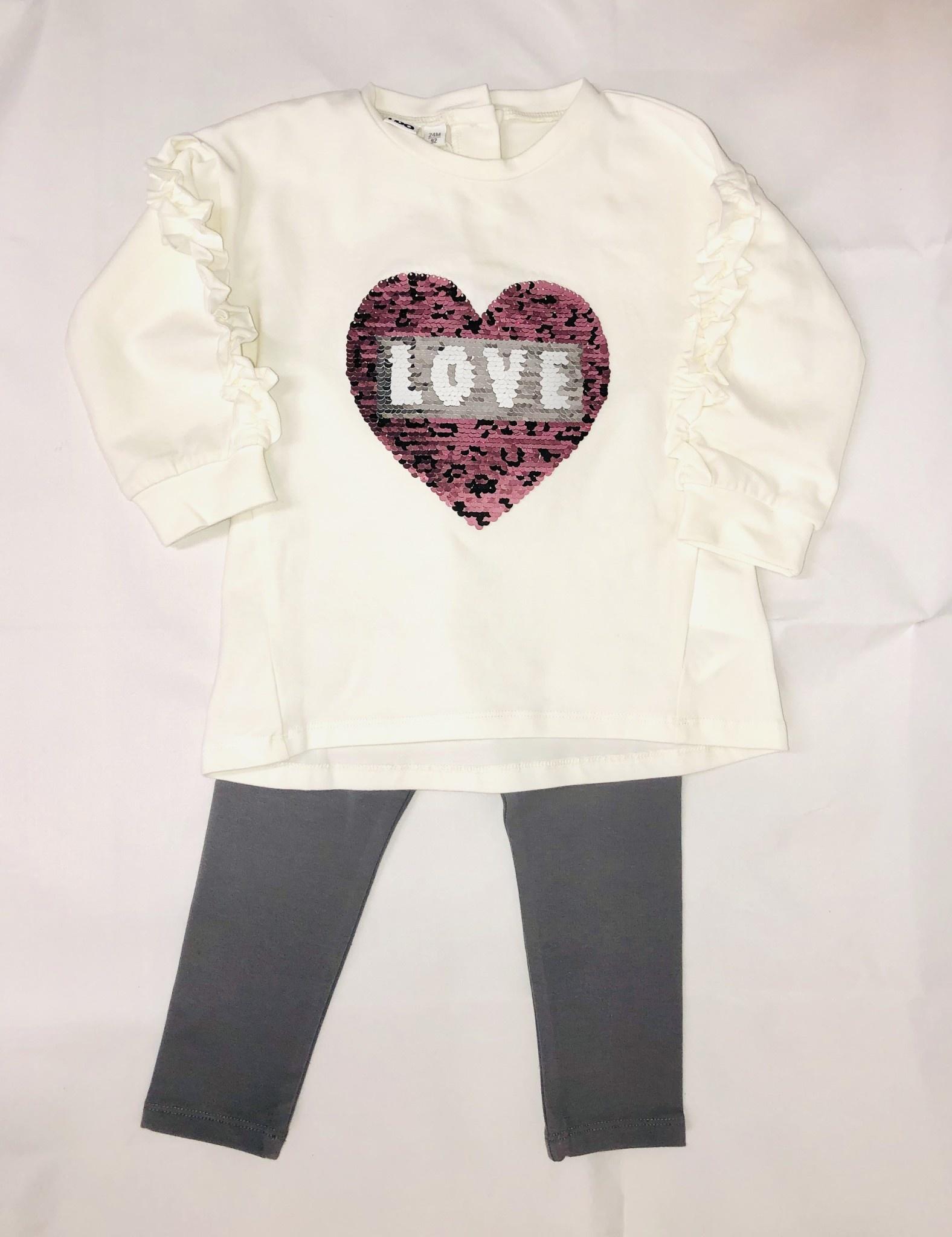 Ido Ido 1601 Cream love heart Jumper & Legging Set