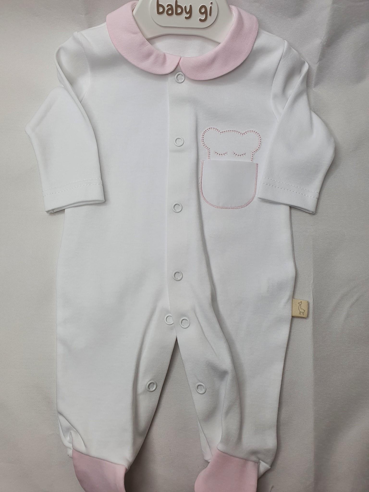 Baby Gi Baby Gi Cotton Bear Collar Babygrow