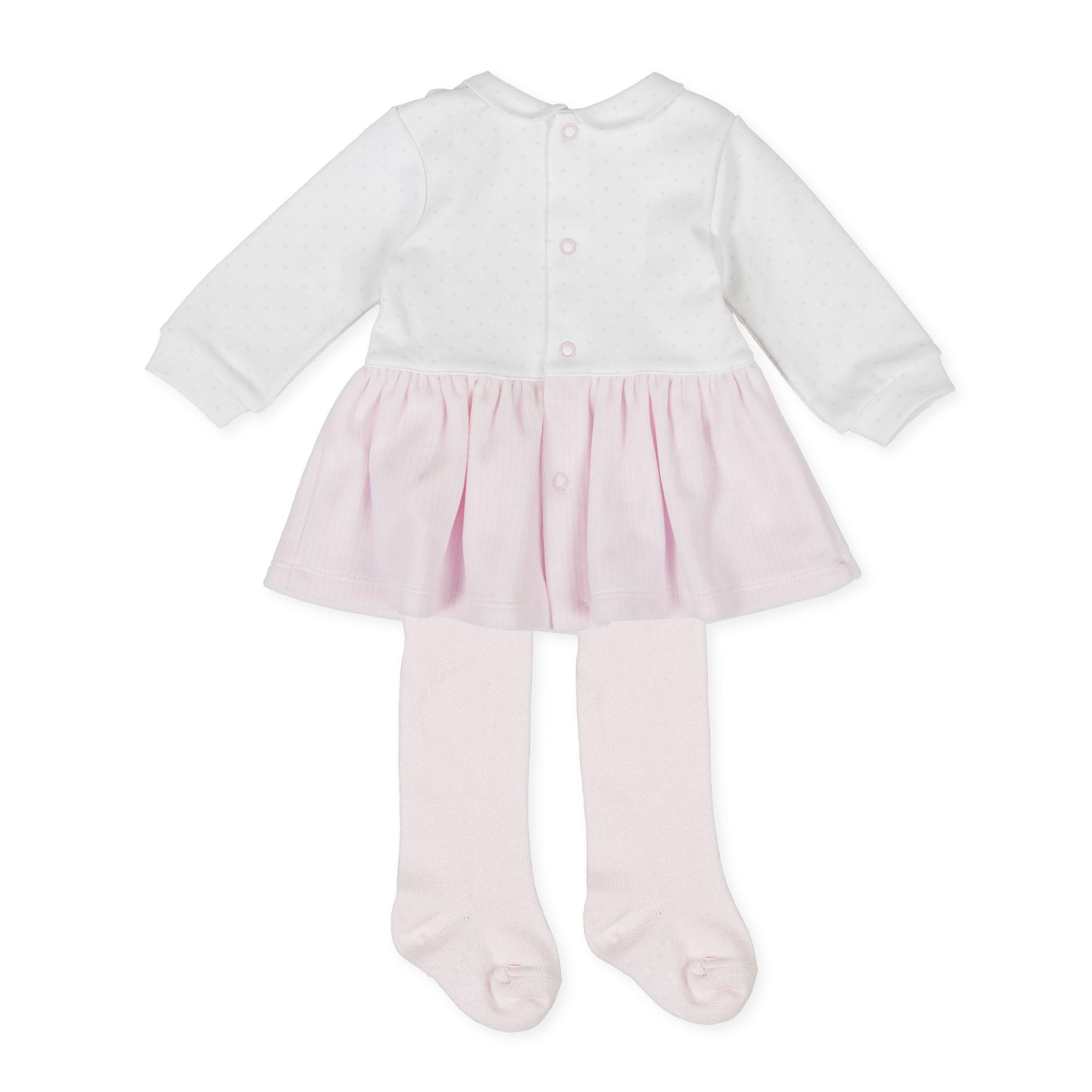 Tutto Piccolo Tutto Piccolo 9783 Pink/White Dress & Tights Set