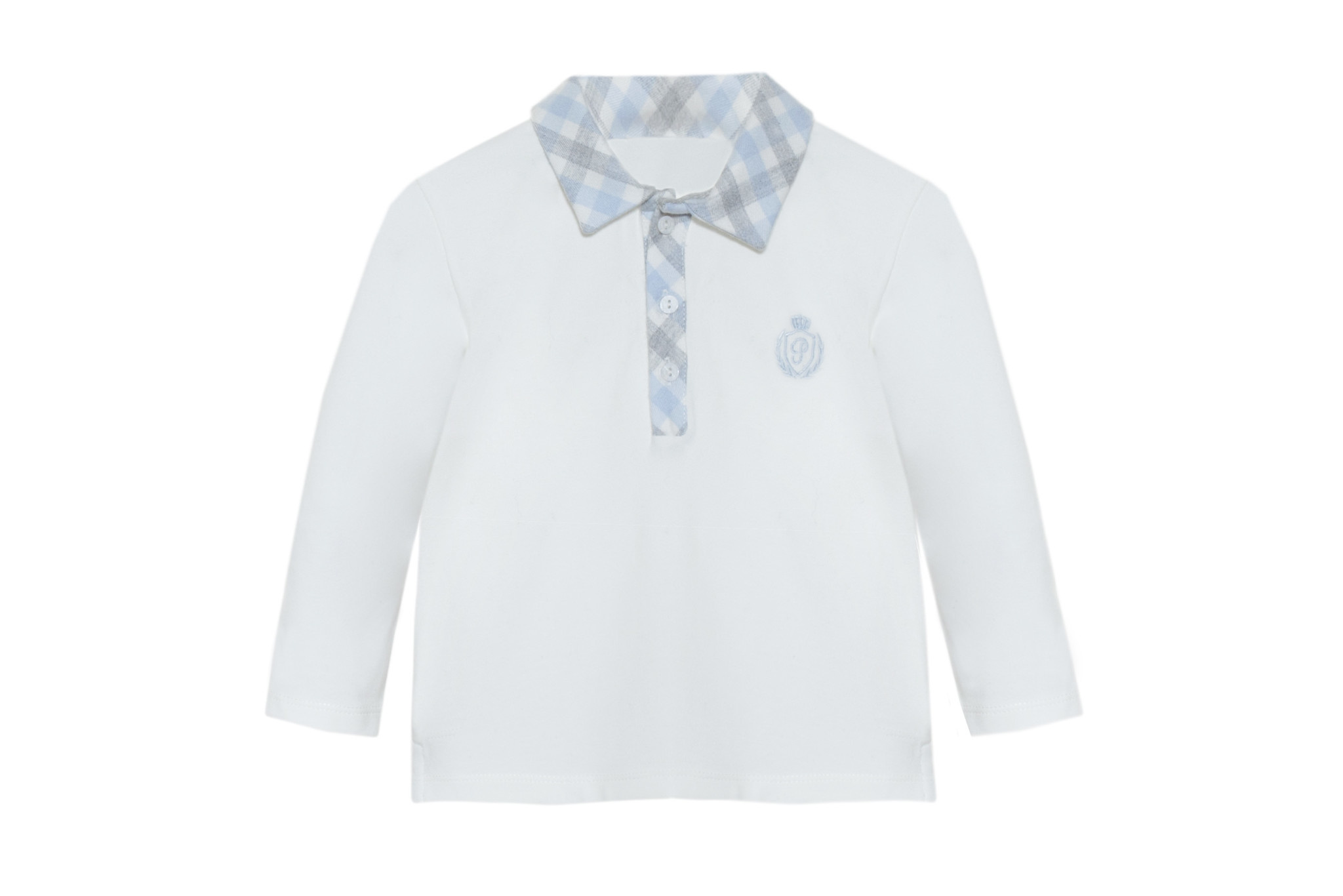 Patachou Patachou  Winter White Top with Check  Collar