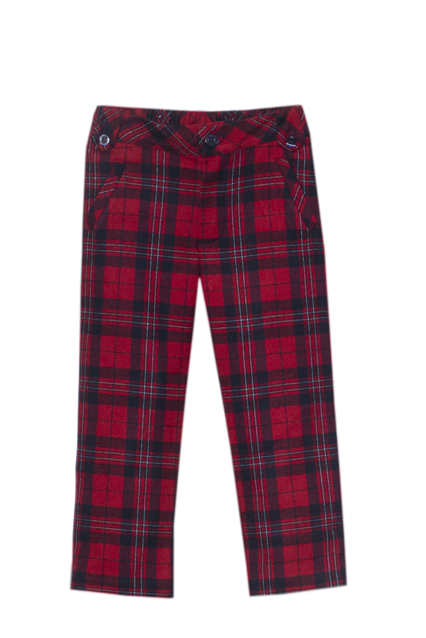 Patachou Patachou Tartan Collar Polo Shirt & Tartan Trousers