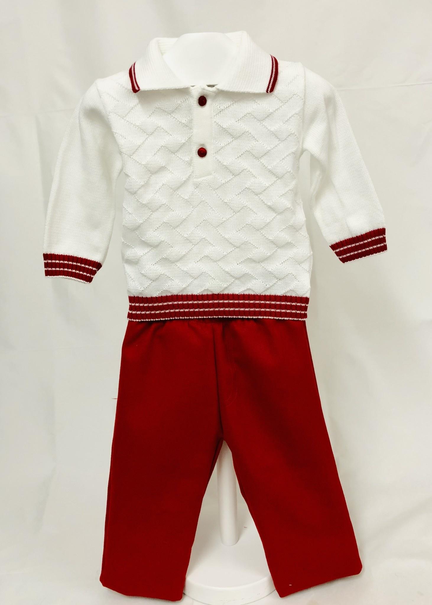 Pretty Originals Pretty Originals JPL8187 Red/White Knit Top &Trousers