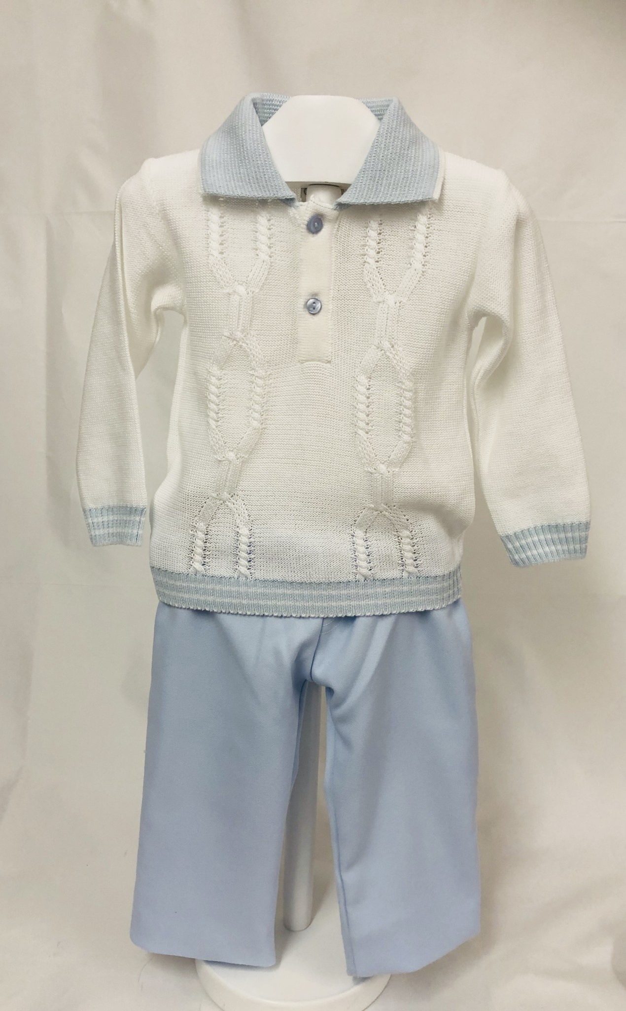Pretty Originals Pretty Originals JPL8185 Blue/White Knit Top and Trouser Set