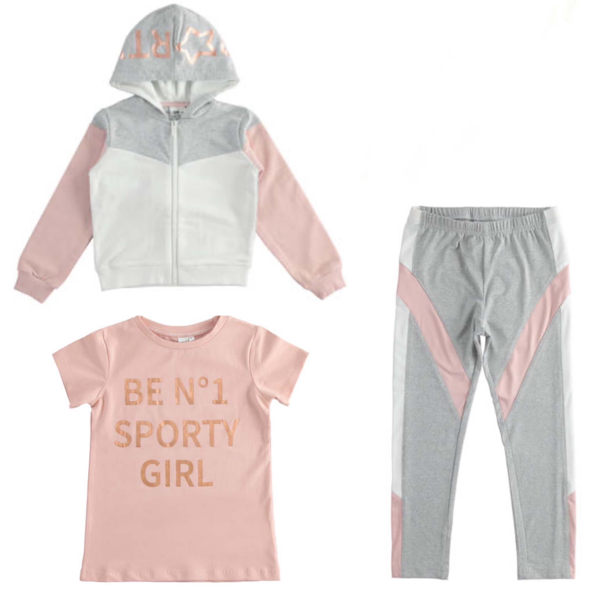 Ido Ido Pink, White & Grey 3 Piece Tracksuit