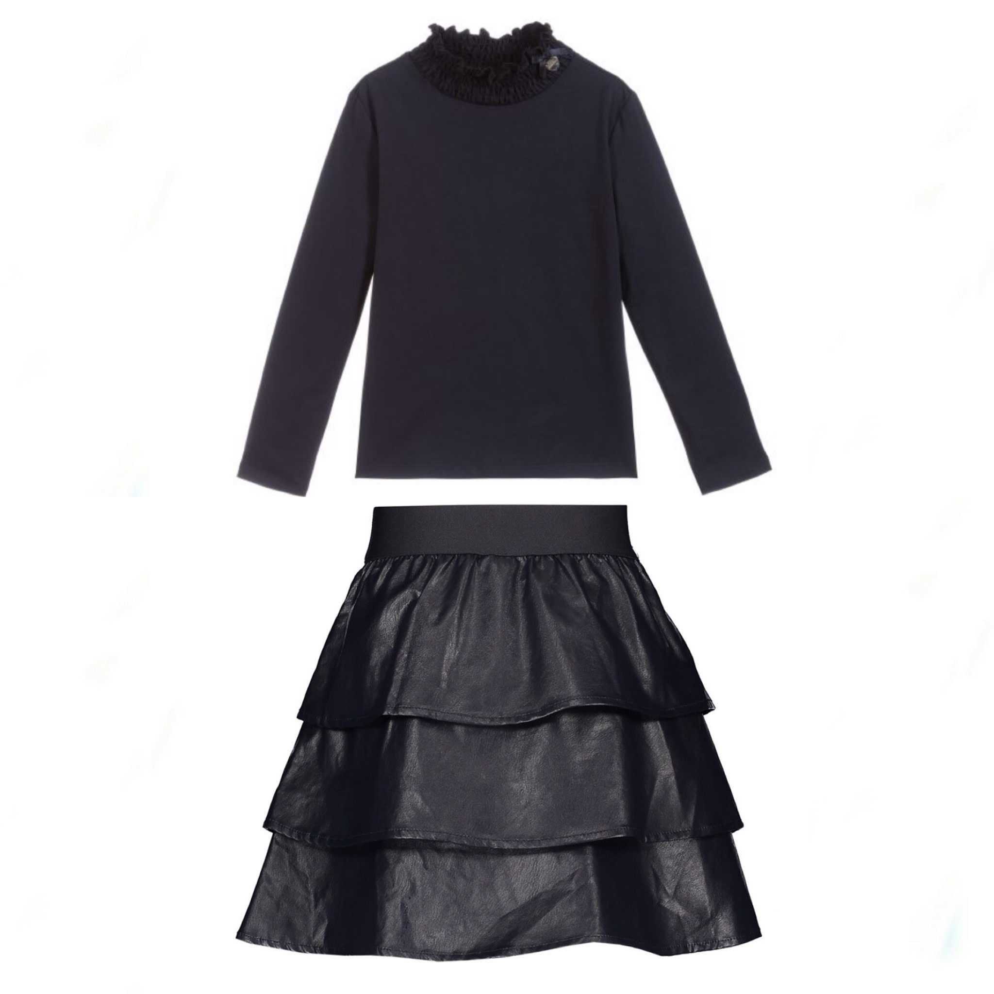 Lechic LeChic Navy Top & Faux Leather Ruffle Skirt