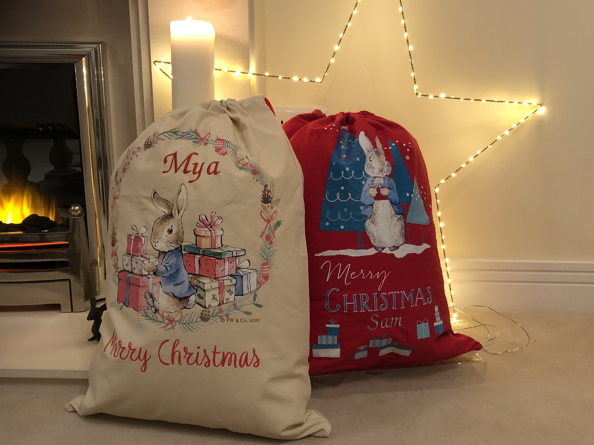 Peter Rabbit Personalised Red Christmas Sack
