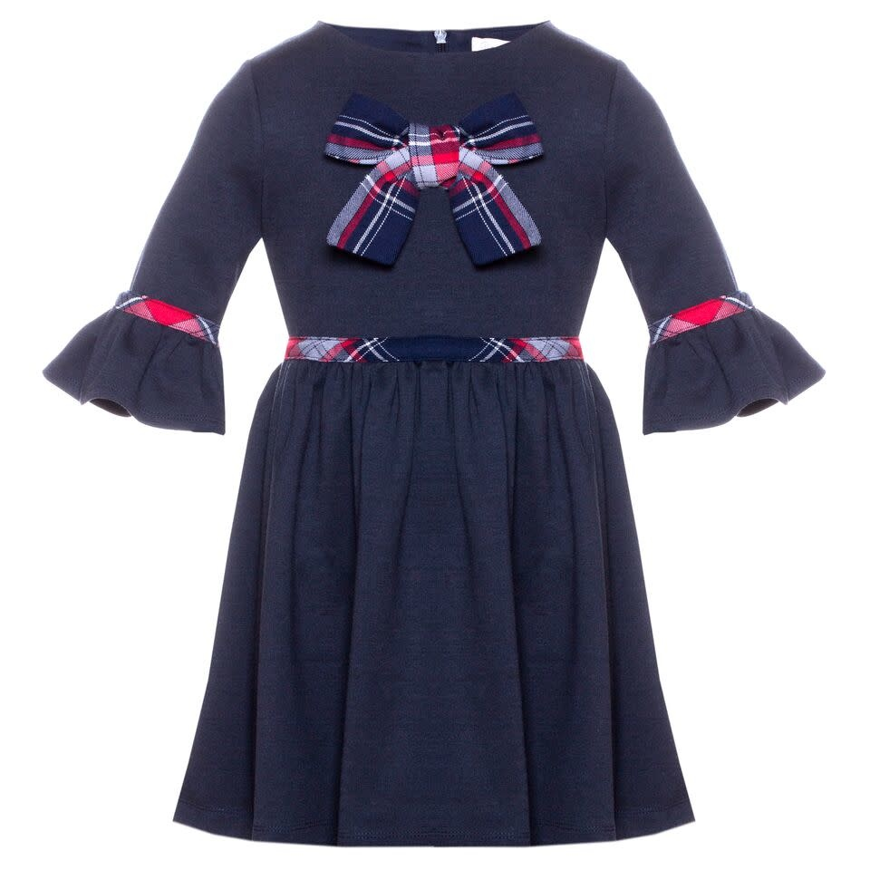 Patachou Patachou Girls Navy with Tartan Detail Dress