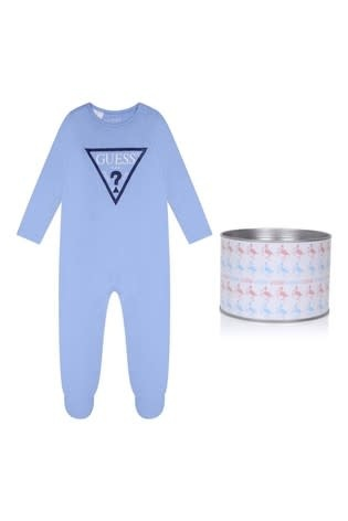Guess Guess Triangle Blue Logo Babygrow