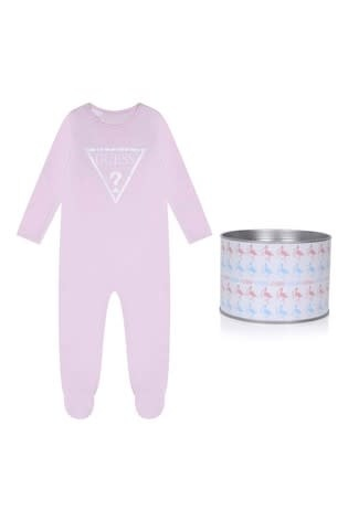 Guess Guess Triangle Pink Logo Babygrow