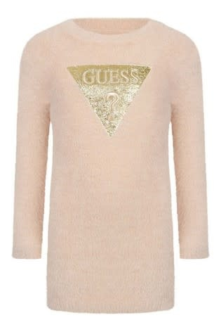 Guess Guess Pink Fluffy Knitted Dress Age 5