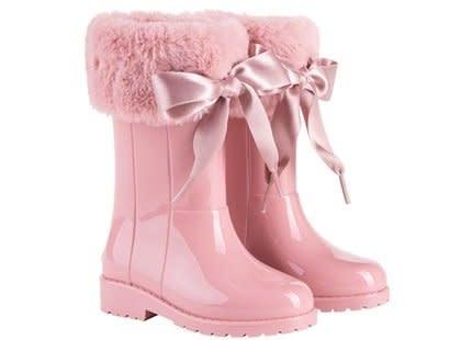 igor Igor Campera Soft Fur Cuff Ribbon Tie Rainboot - Pink
