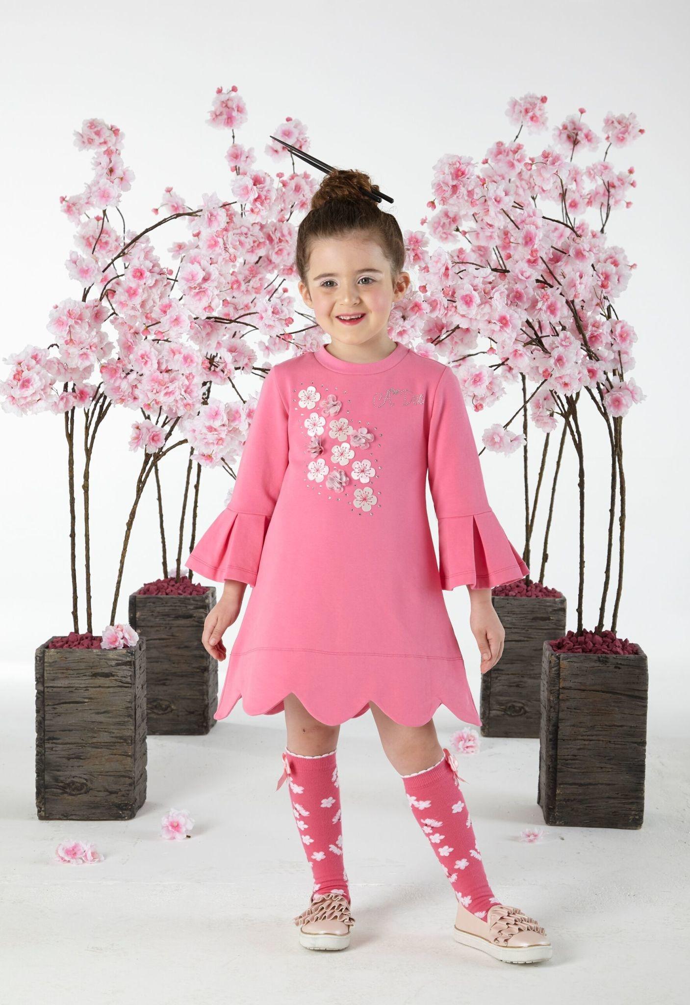 A Dee ADee W191701 Dawn Sweet Pink Frill Sleeve Dress