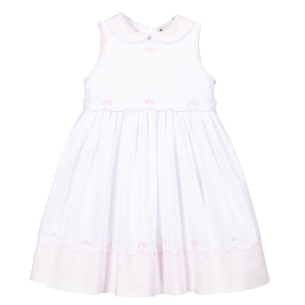 Sarah Louise Sarah Louise White & Pink Embroidered Dress