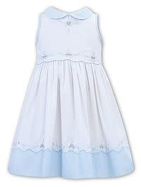Sarah Louise Sarah Louise White and Blue Cotton Embroidered Dress