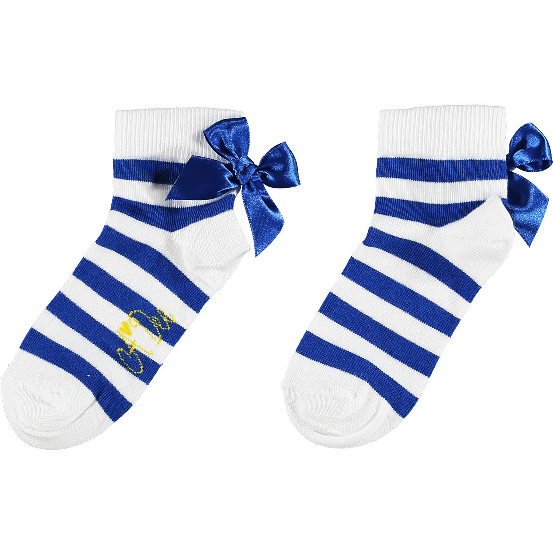 Adee Adee Libby Stripe Bow Ankle Sock Blue