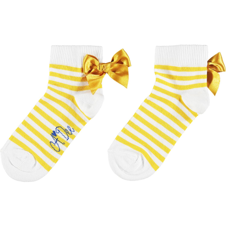 Adee Adee Libby Stripe Bow Ankle Sock Yellow