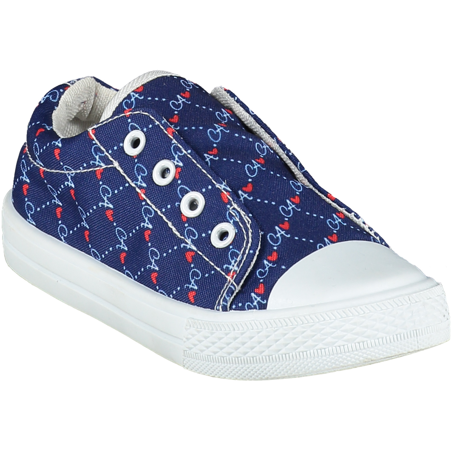 Adee Adee Laceless Printed Canvas Trainer - French Navy