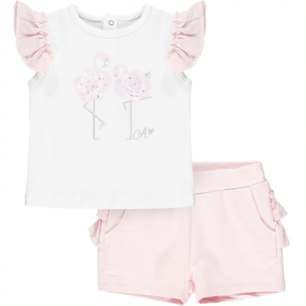 Little A Little A Jagger Flamingo Short Set