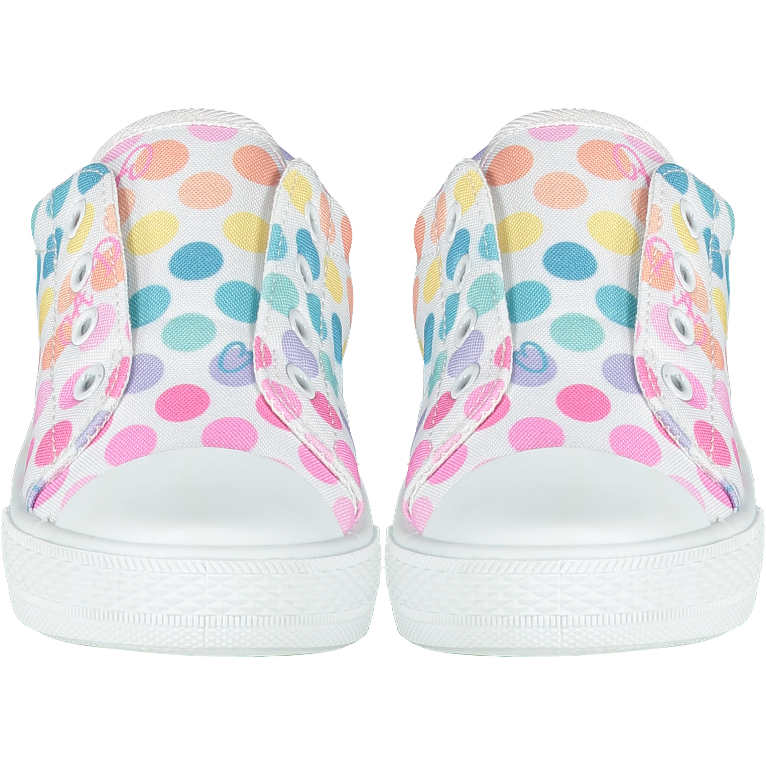 Adee Adee White Spot Printed Canvas Trainers