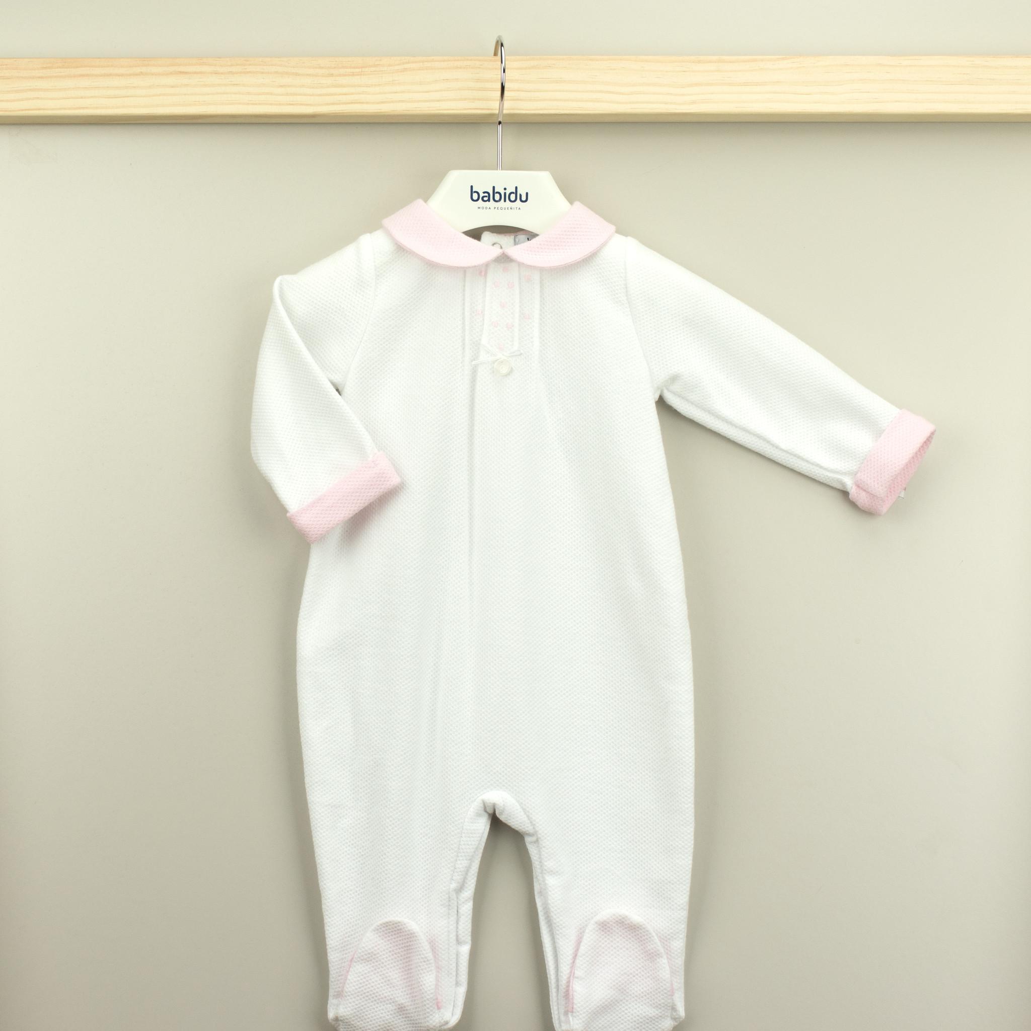 Babidu Babidu Girls White Classic Babygrow 14340 SS21