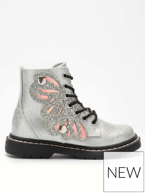 Lelli Kelly Argento Glitter Wing Boots