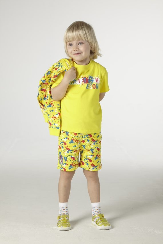 Mitch and Son Mitch & Son Castle Paint Splash T-shirt Bright Yellow