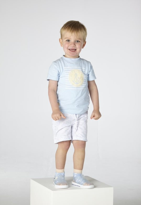 Mitch and Son Mitch & Son Byres Pale Blue Anchor T-shirt