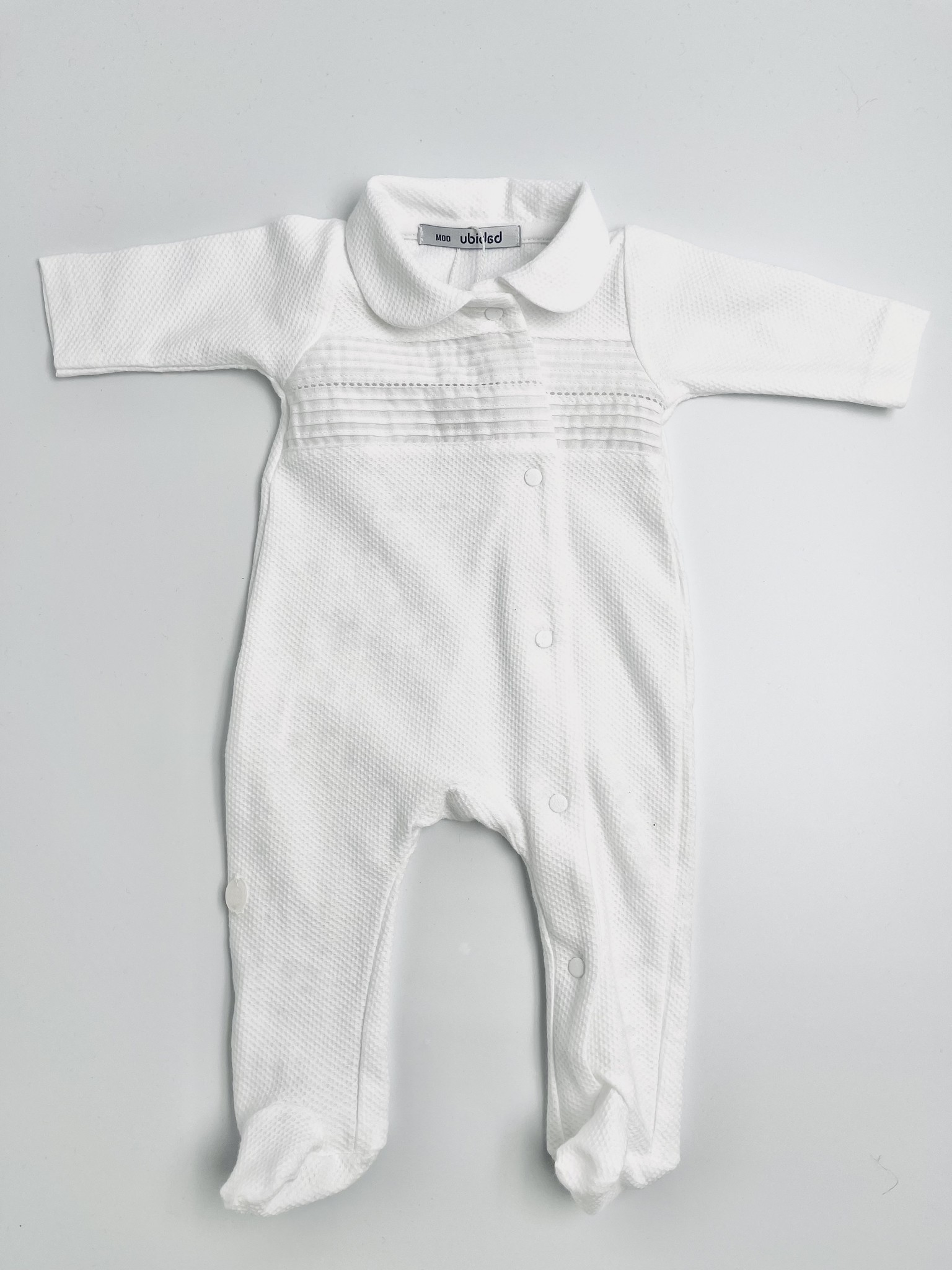 Babidu Babidu White Classic Babygrow 12340 SS21