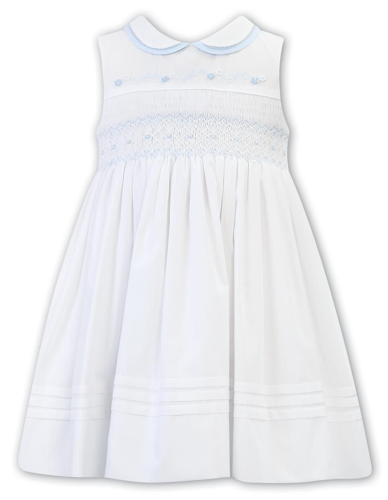 Sarah Louise Sarah Louise White/Blue Embroidery Dress 012266 6YEARS