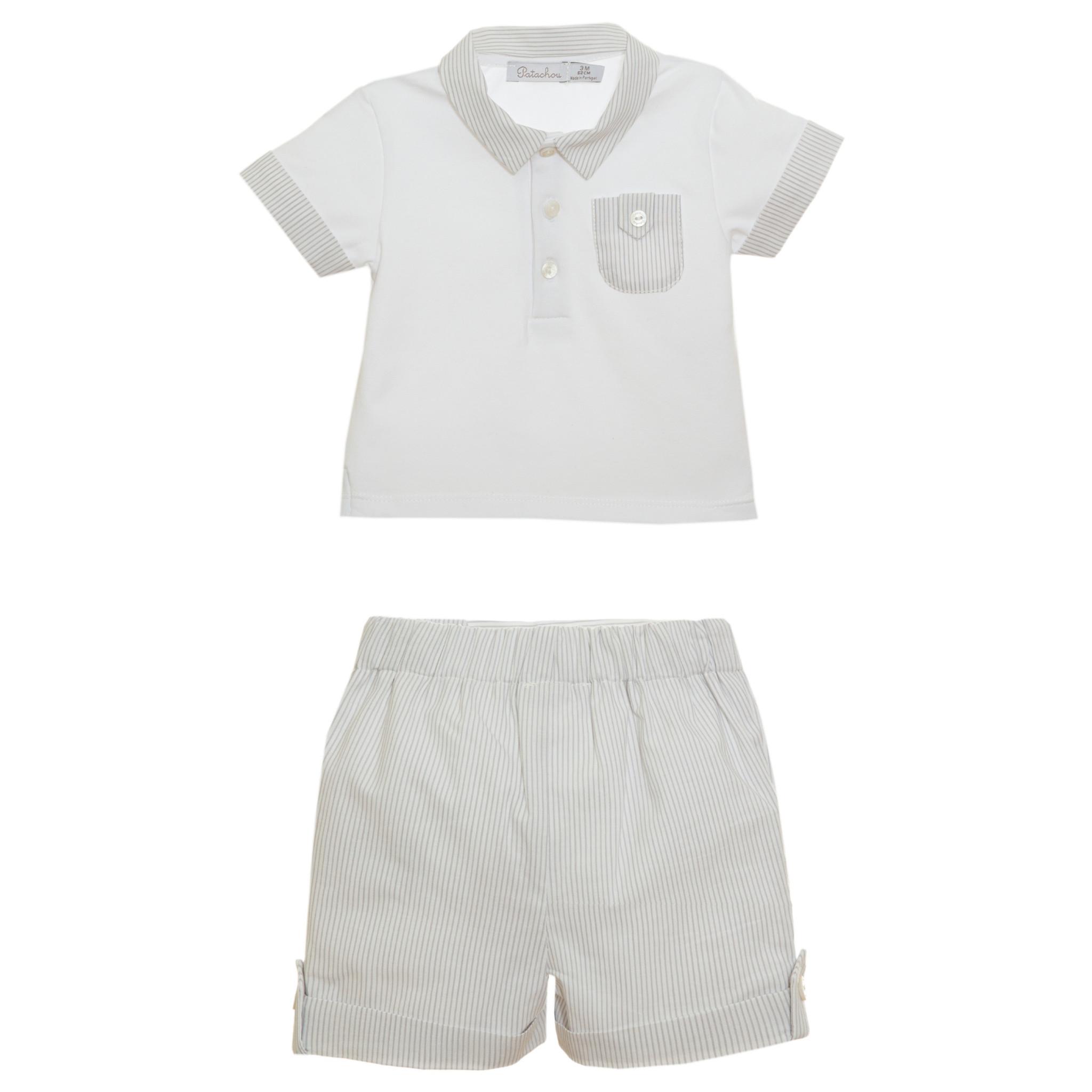 Patachou Boys Grey Stripe Short Set 3103 S21