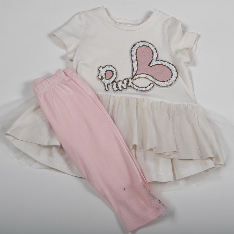 Daga Daga White & Pink Heart Legging Set 8385 S21