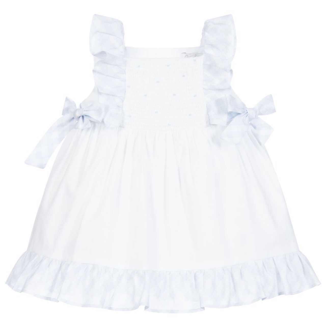 Patachou Patachou White & Blue Smocked Dress