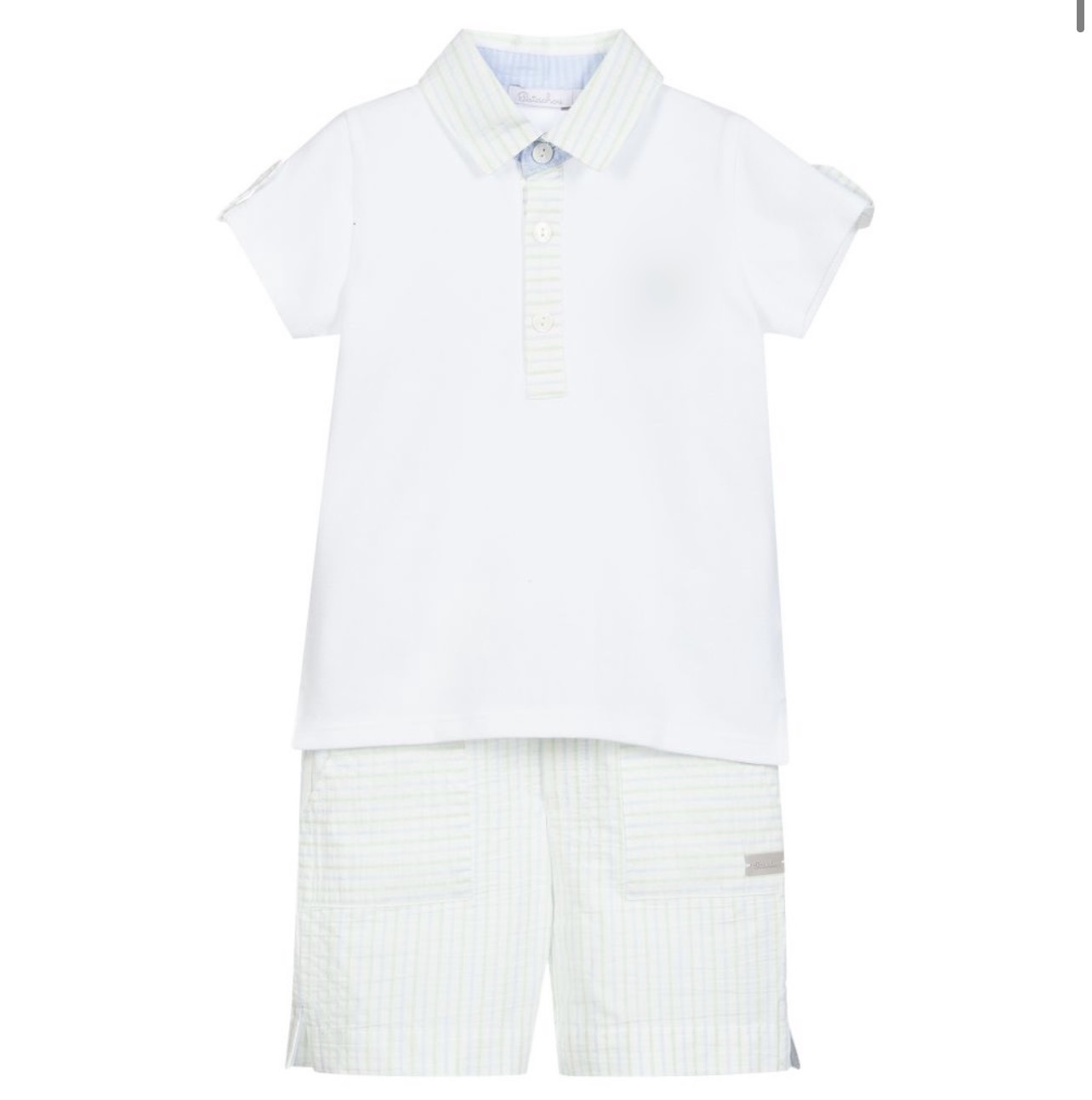 Patachou Patachou Green/Blue Stripe Short Set 3322 S21