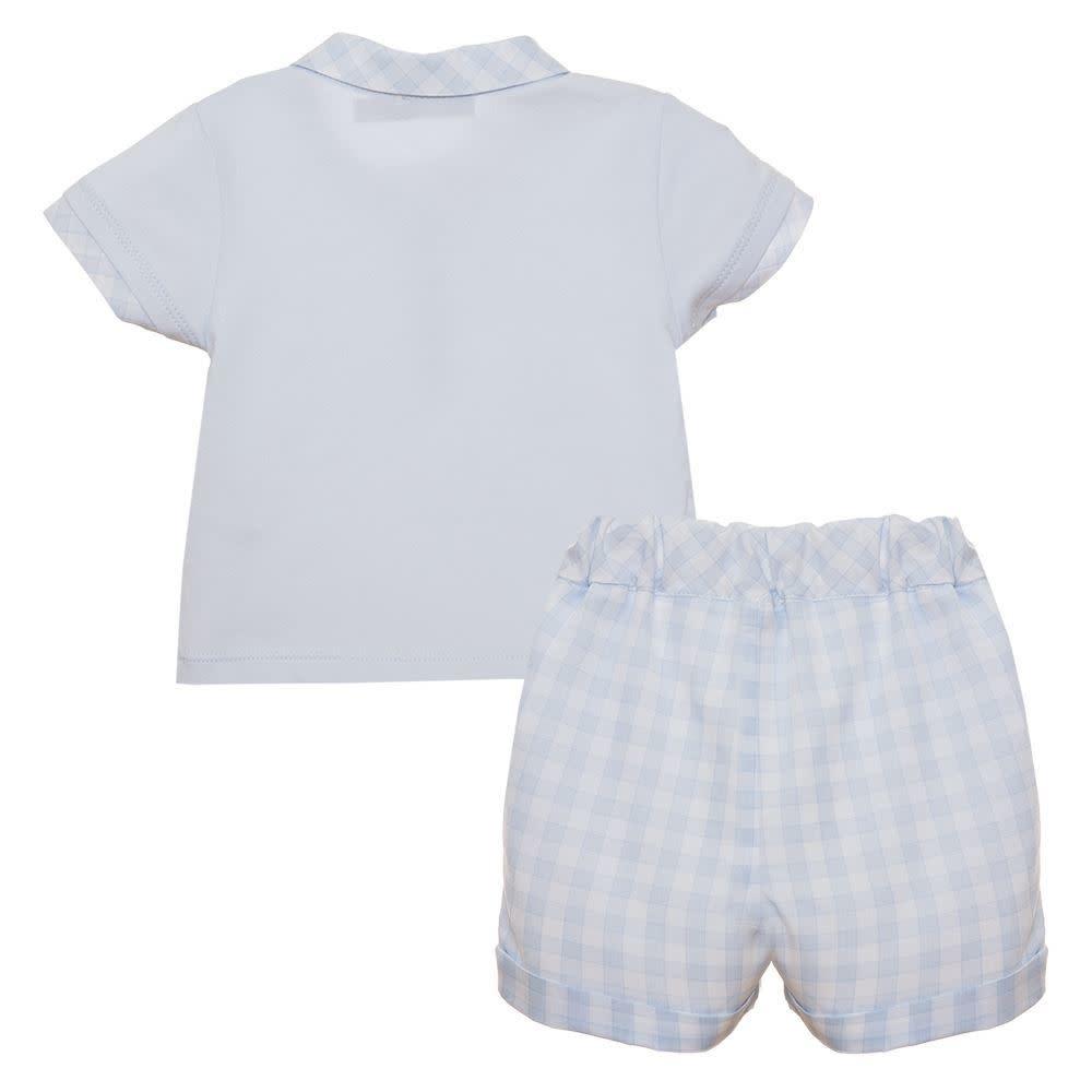 Patachou PATACHOU BABY BOY BLUE & WHITE CHECK TOP & SHORTS S21