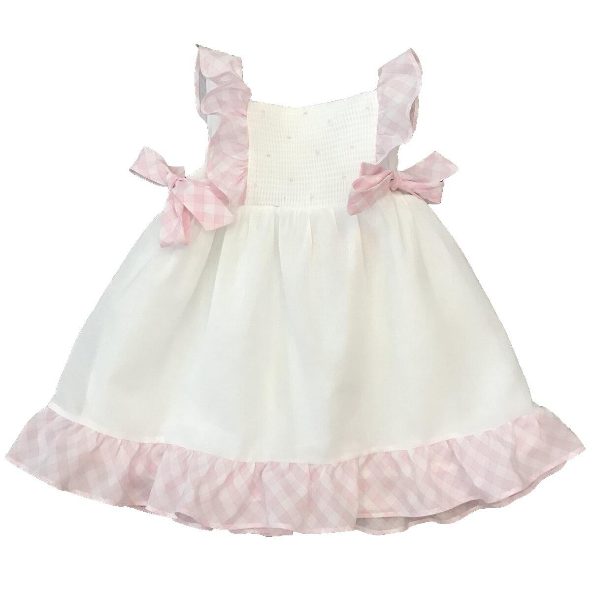 Patachou Patachou White & Pink Smocked Dress 3076 S21