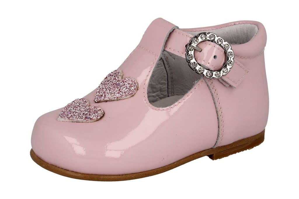 Andanines Andanines Pink Patent 'Glitter' Love Heart Shoe 211184