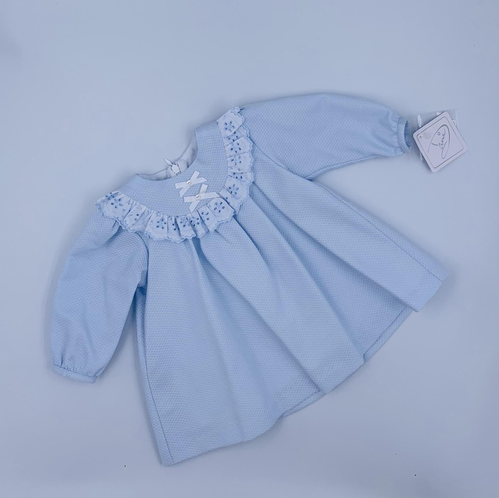 Dani Dani Blue Broderie Anglaise Long Sleeve Dress
