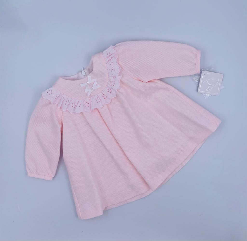 Dani Dani Pink Broderie Long Sleeve Dress