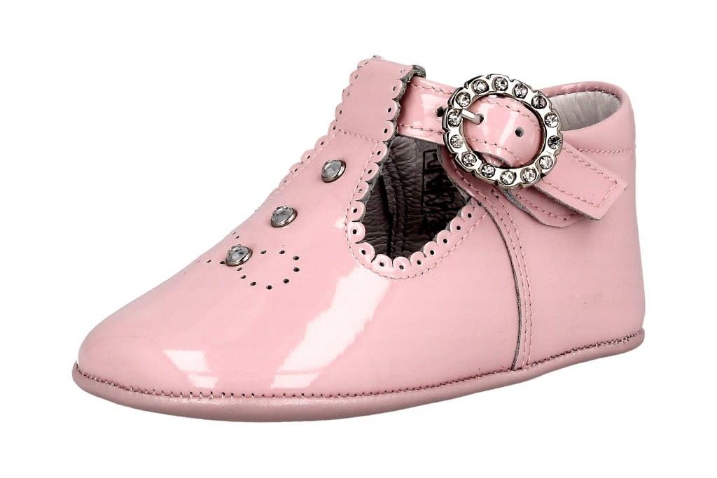Andanines Andanines Pink Patent Crystal Pram Shoe 211032 S21