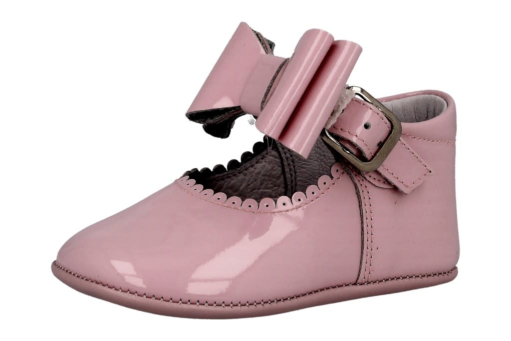 Andanines Andanines Pink Patent Bow Pram Shoe 202806 S21