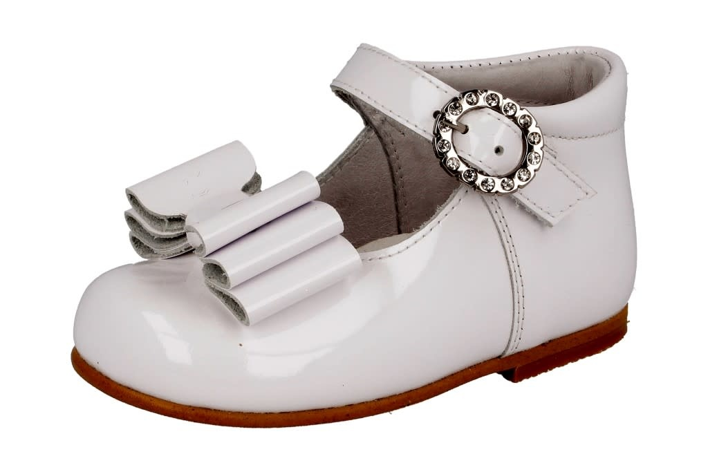 Andanines Andanines White Patent Bow Shoe 211179 S21