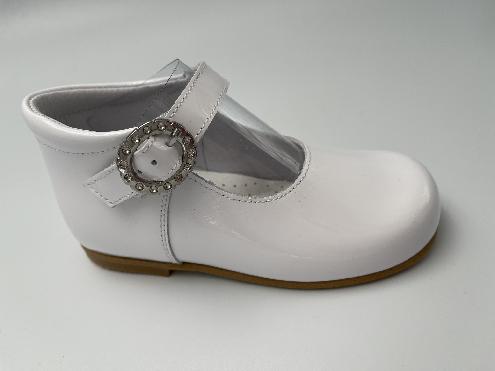 Andanines Andanines White Patent Crystal Buckle 192830 S21
