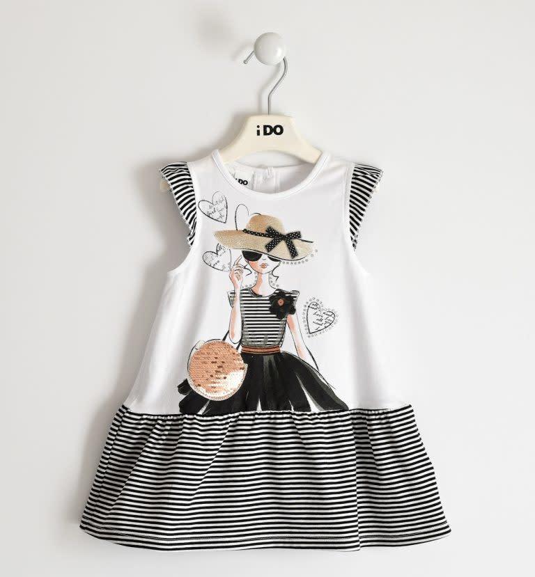 IDO 427650113 BLACK AND WHITE STRIPE DRESS S21
