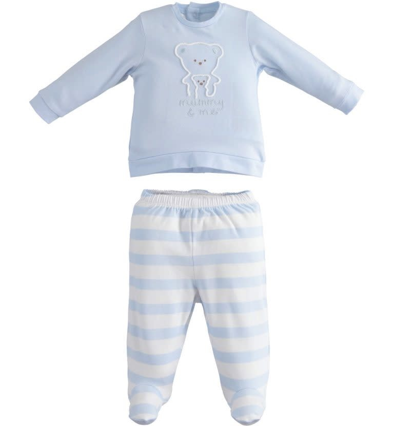 Ido IDO 421825818 BABY BOYS PALE BLUE AND WHITE 2 PIECE SET S21