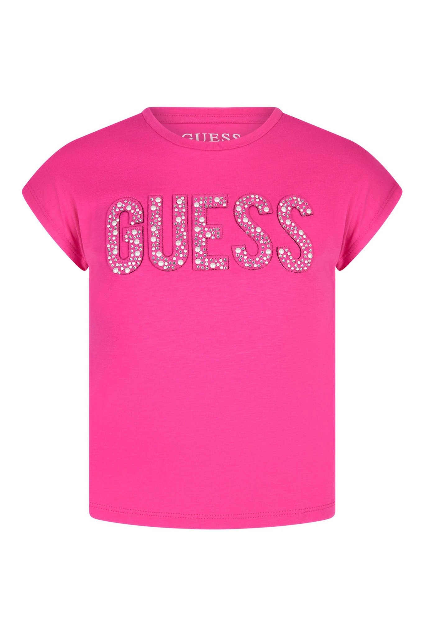 GUESS HOT PINK FRONT LOGO STUDS T-SHIRT S21