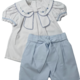 SS21 Pretty Originals Blue & White Bow Short Set BD02046 S21