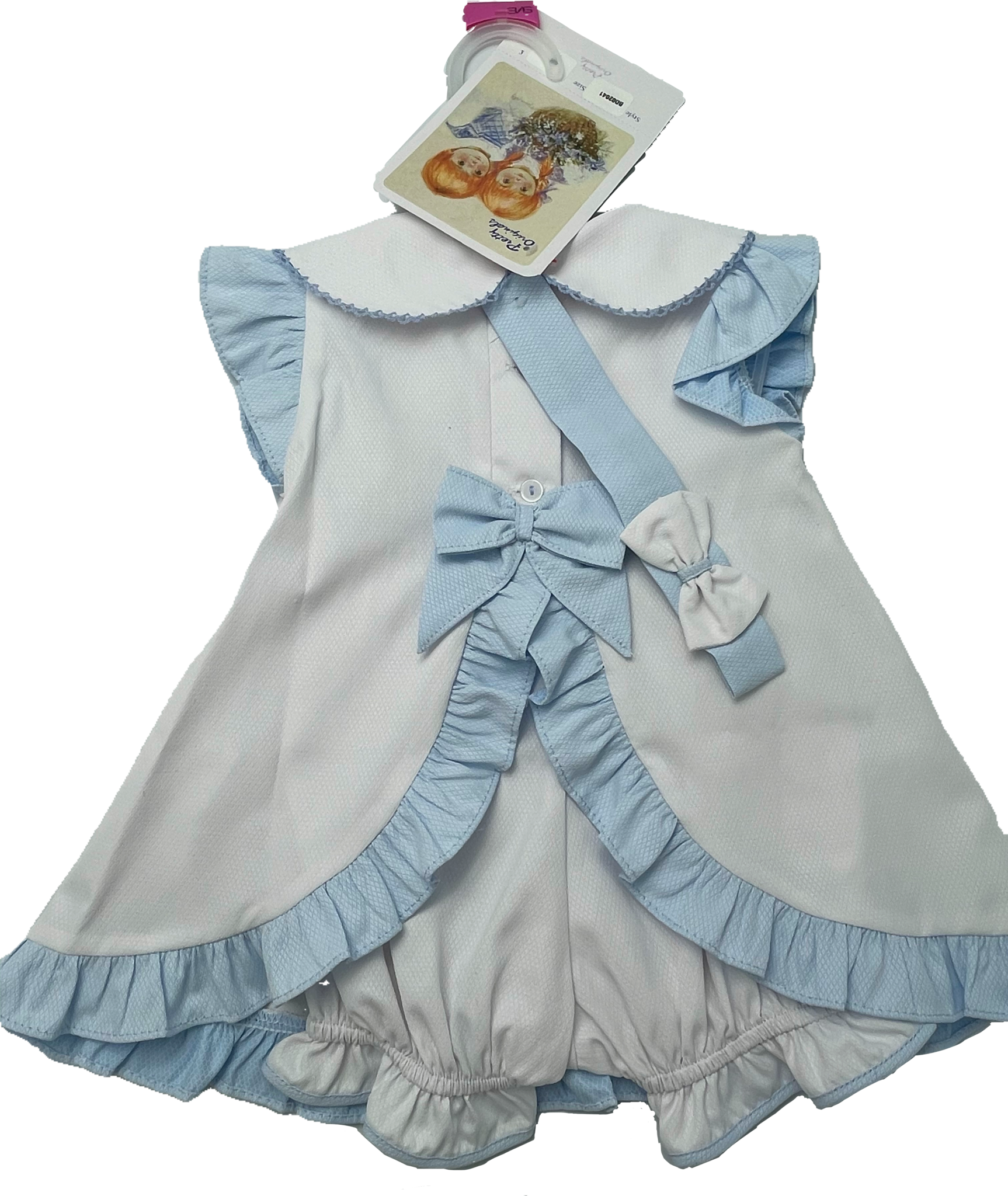 Pretty Originals SS21 Pretty Originals Blue/White Bow Dress 02041