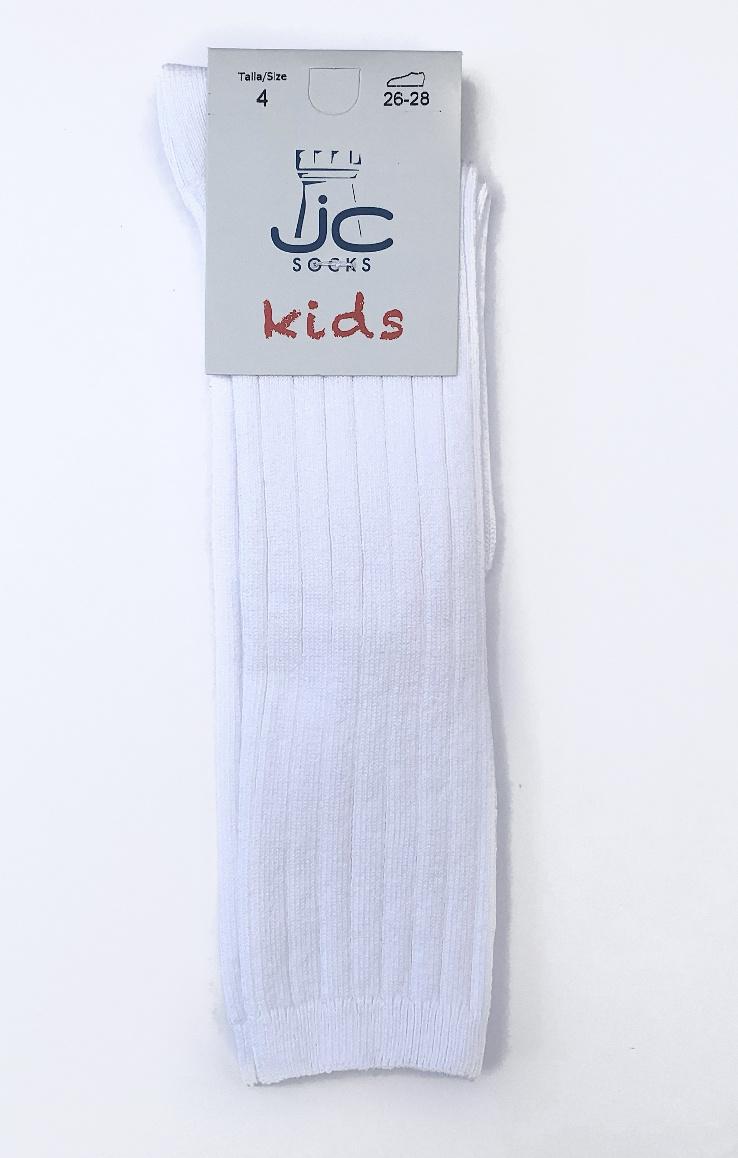 JC Socks JC Socks White Ribbed Knee High 52900